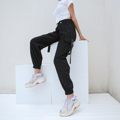 """Sada"" Black High Waist Cargo Streetwear Clothing Raikago"
