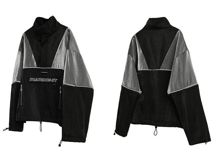 V Black Streetwear Windbreaker