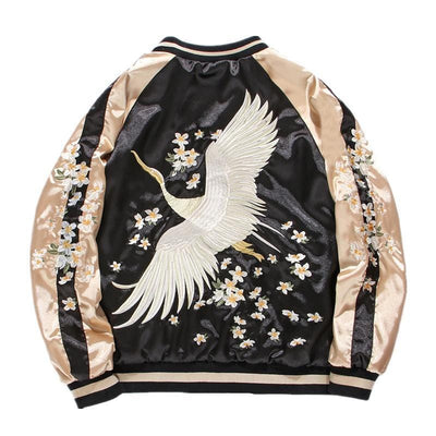 White crane Flower Embroidery Sukajan Jackets Streetwear Clothing Raikago
