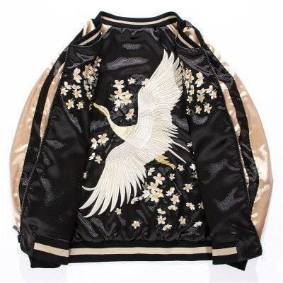 White Crane Flower Embroidery Sukajan Jackets