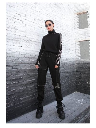 Women's High Waisted Black Joggers Streetwear Clothing Raikago
