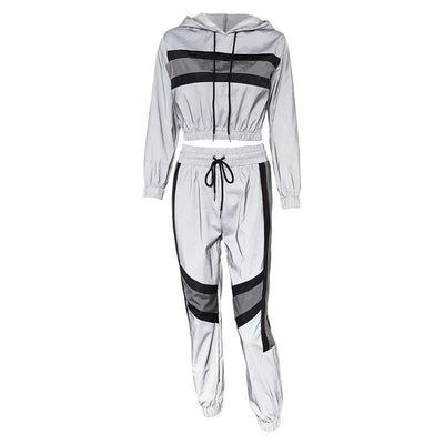 Women's Tracksuits 2 Piece Set Reflectors Streetwear Clothing Raikago