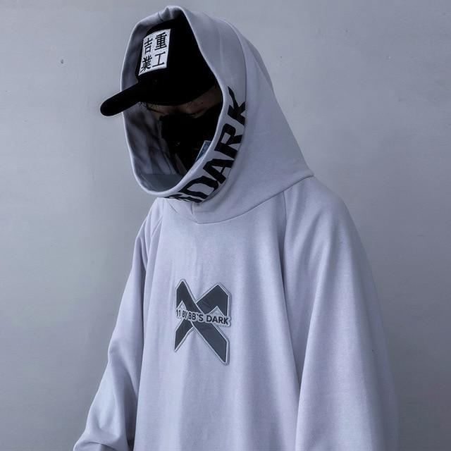 """X"" Black and White Streetwear Hoodie"