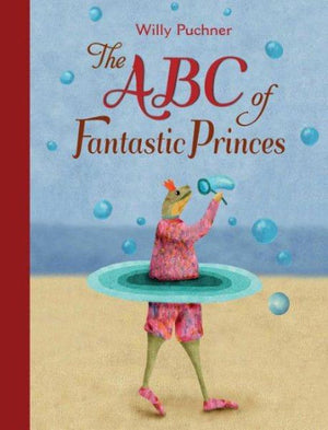 Book cover: a Frog wearing a pink outfit and shoes with blue rings, blowing bubbles on a beach.