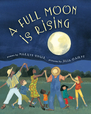 Book cover of diverse group of adults and children dancing under a full moon