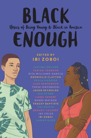 Book cover showing list of authors and a young black man and woman