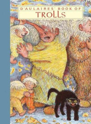 Book cover two large trolls with white hair and family and black cat