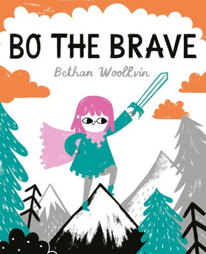 Book cover with pink haired Bo with a sward and cape on top of a mountain