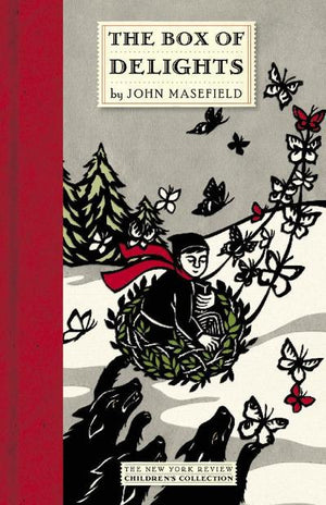 Book cover: red, black and white drawing of boy in a basket carried by butterflies as he escapes the wolves over a snowy landscape