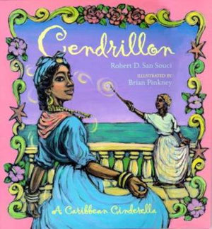 Book cover of Black Caribbean Cinderella in a blue dress against a turquoise sea