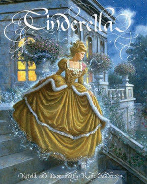 Book cover with Cinderella in yellow gown on palace stairs