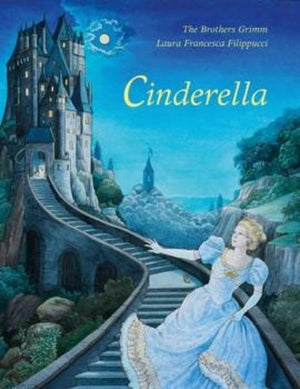 Book cover Cinderella in blue dress running down the steps away from a castle
