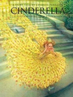 Book cover, Cinderella with red hair and large yellow gown running down steps