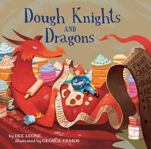 Book Cover with Red Dragon laying down and small knight in blue reviewing recipes