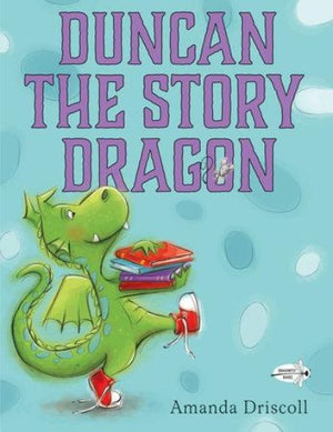 Book Cover with Green Dragon in Red Sneakers carrying books