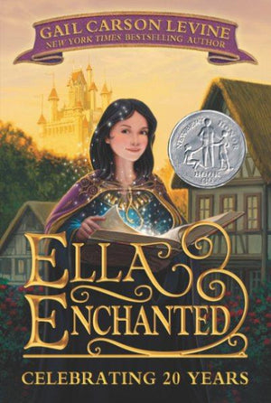 Book cover with dark haired girl holding a magic book with homes and castle in background
