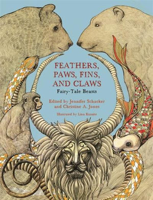 Book cover with horned lion, bears and more magical creatures