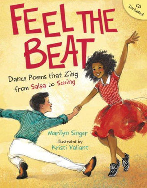 Book cover : A boy in white pants and green shirt and African American girl in red dress dancing