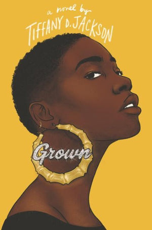 Book Cover Black girl with short hair, in profile, with large gold earings
