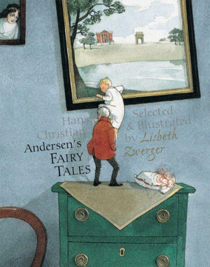 Book cover painting of small child climbing  to enter a picture aided by a man in red jacket