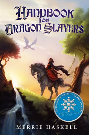 Book cover of princess on grey horse in a forest with dragons and waterfall