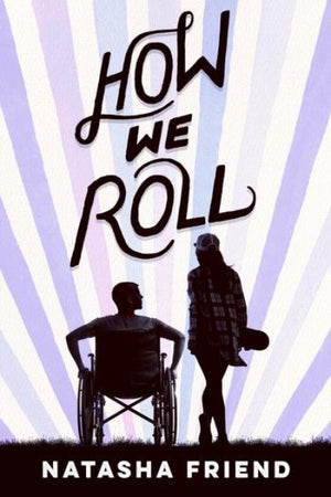 Book cover : Silhouette picture of boy in wheelchair talking with girl with skateboard
