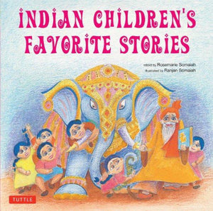 Book cover with Indian Elephant in jeweled head covering and small children and storyteller