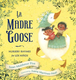 Book Cover: Two small children riding a white goose who has flowers in her hair