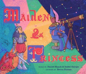 Book Cover: Two women, one dressed in armor, with a dragon , the other in a blue gown with a telescope