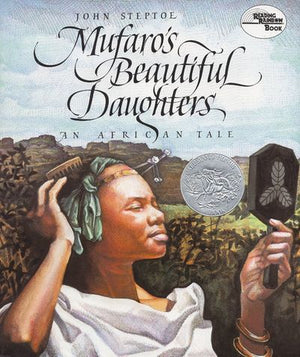 Book Cover:  A Black African girl with white clothes, looking in a mirror