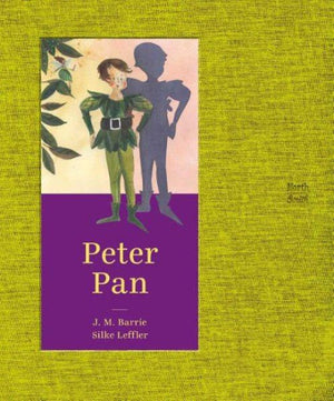 Book cover: Peter Pan in Green top and tights with shadow.