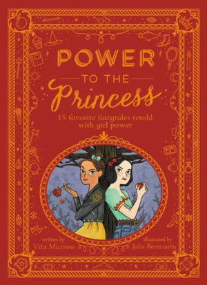 Book cover: Ornate Red and Gold background with 2 diverse princesses standing back to back