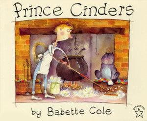Book cover: Boy with  blond hair sweeping the ashes in front of a bit black pot and cat.