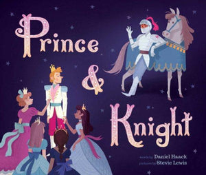 Book cover: Blond haired prince surrounded by princesses looking back towards a horse and Knight in Shining armor