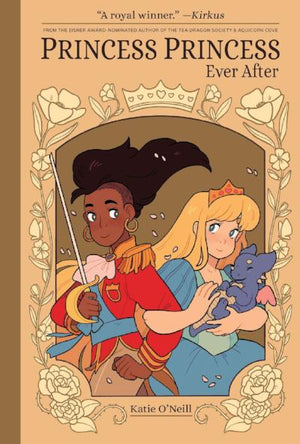 Book Cover: Black Princess with red jacket and sword and Blond princess with baby dragon