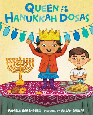 Book cover: Bi-racial Indian-White Jewish girl stands on table set with Menora and Dosas.