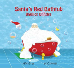 Book Cover: White Santa with beard in Red bathtub which is overflowing with bubbles