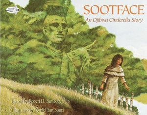 Book cover: a Native American girl with brown dress, in front of image of man in greenery