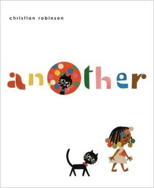 Book cover with a small black child with  colorful beads in her hair and a black cat