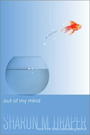Book cover: pale blue background, clear goldfish bowl and goldfish leaping out into the air