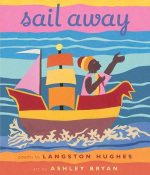 Book cover: Boat with multicolored sails and Black sailor against blue ocean