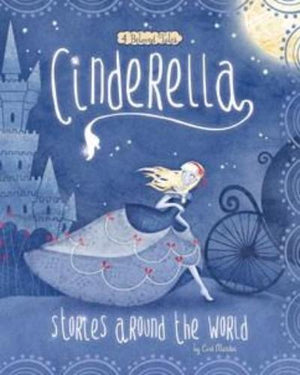 Book cover Cinderella in shades of blue running from the castle