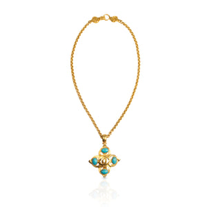 Vintage Chanel Turquoise CC Necklace