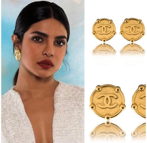 Vintage Chanel Chunky Coin CC Earrings