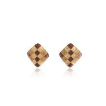 Load image into Gallery viewer, Vintage Brown Enamel Diamond Earrings
