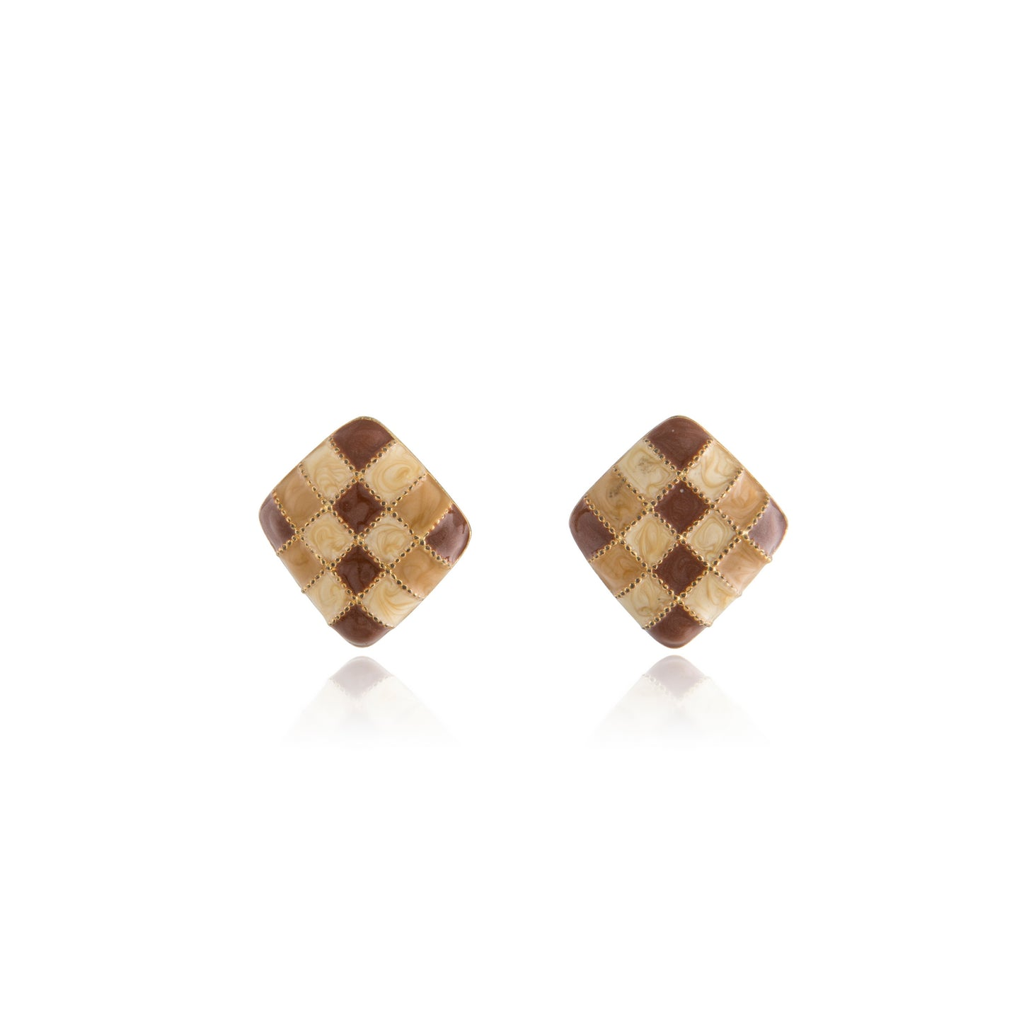 Vintage Brown Enamel Diamond Earrings