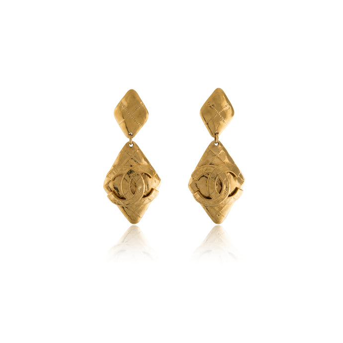 Vintage Chanel Chunky CC Diamond Earrings
