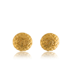 Vintage Chanel CC Quilted Chunky Earrings