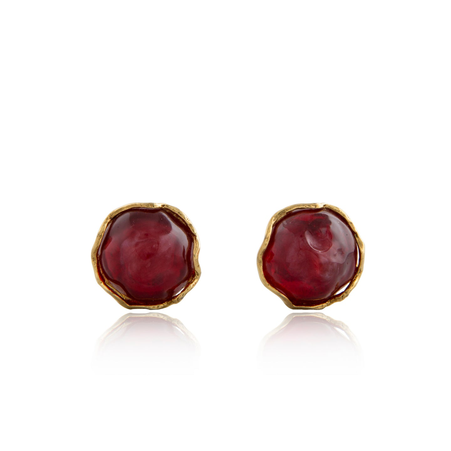 Vintage Yves Saint Laurent Red Cabochon Jelly Earrings