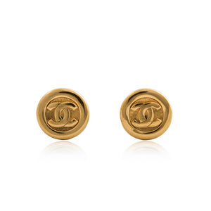 Vintage Chanel CC Flat Round Earrings